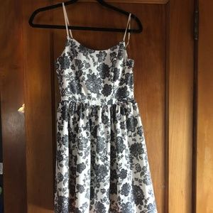 White and Black Floral Dress